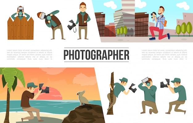 Verzameling van platte fotografie-elementen met fotograaf in verschillende poses, foto's, stickers, kleurrijke pinnen en clips