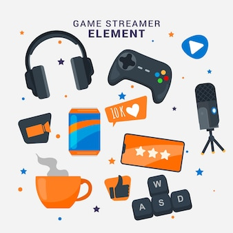 Verzameling van platte game streamer-elementen