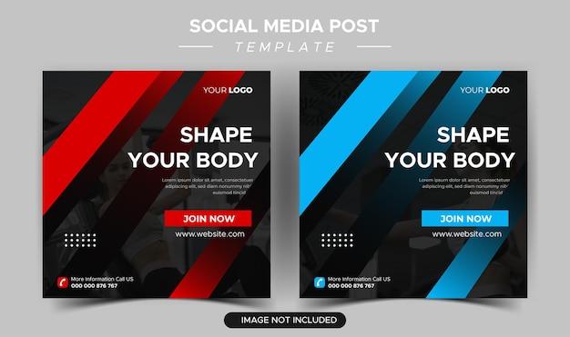 Verzameling van platte gezondheids- en fitness-instagramberichten