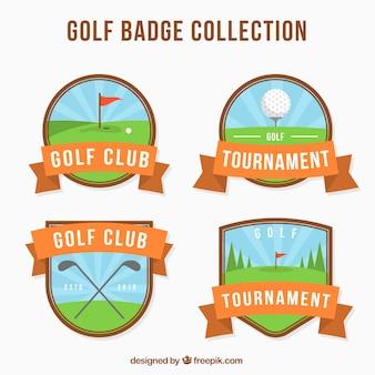 Verzameling van platte golf labels