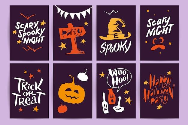 Verzameling van platte halloween-feestkaarten, flayers met grappige dieren, traditionele halloween-elementen en spookachtige partijsymbolen geïsoleerd op zwarte, gekleurde achtergrond.