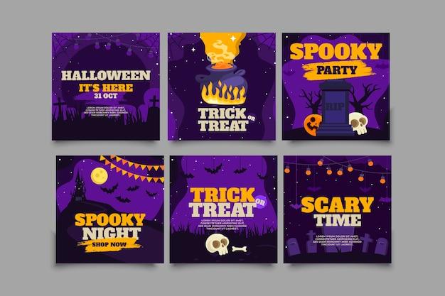 Verzameling van platte halloween instagram-berichten