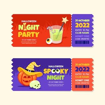 Verzameling van platte halloween-tickets