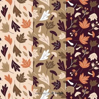 Verzameling van platte herfst patronen