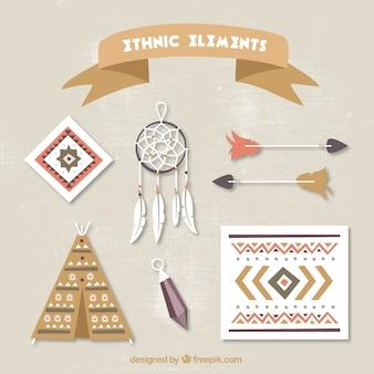 Verzameling van platte indische elementen