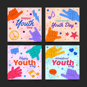 Verzameling van platte internationale jeugddagberichten