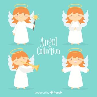 Verzameling van platte kerst engelen