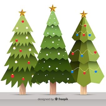 Verzameling van platte kerstbomen