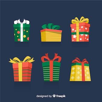 Verzameling van platte kerstcadeaus