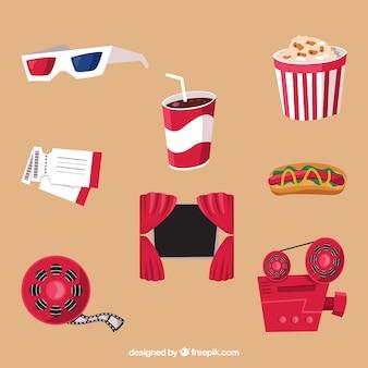 Verzameling van platte kleurrijke theater voorwerpen
