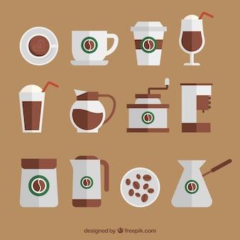 Verzameling van platte koffie accessoires