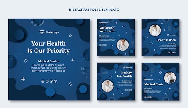 Verzameling van platte medische instagram-berichten