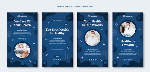Verzameling van platte medische instagramverhalen