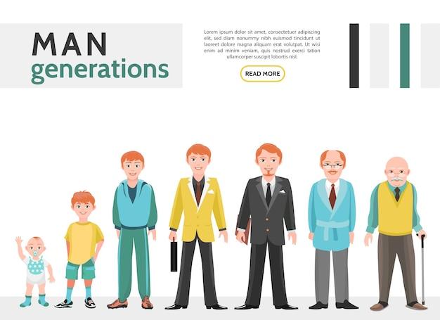 Verzameling van platte mensen generatie