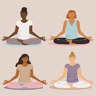 Verzameling van platte mensen mediteren