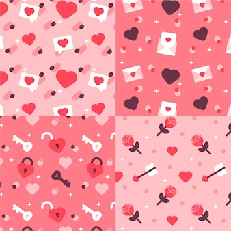 Verzameling van platte mooie valentijnsdag patroon