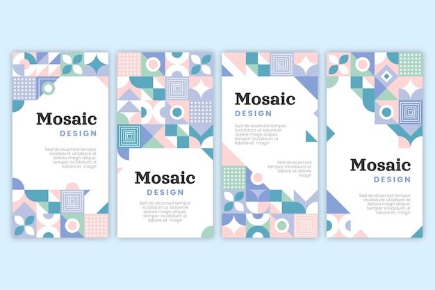 Verzameling van platte mozaïek instagramverhalen