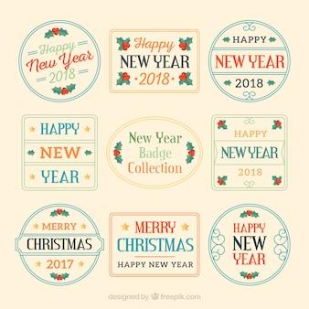 Verzameling van platte nieuwjaar badges