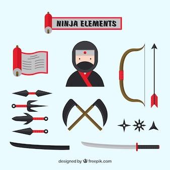 Verzameling van platte ninja-elementen
