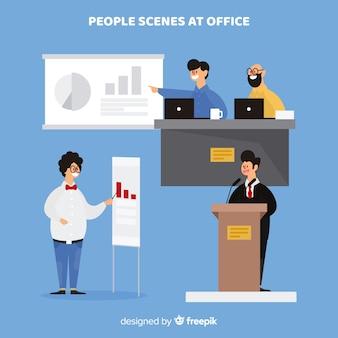 Verzameling van platte office-scènes