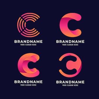 Verzameling van platte ontwerp c logo's