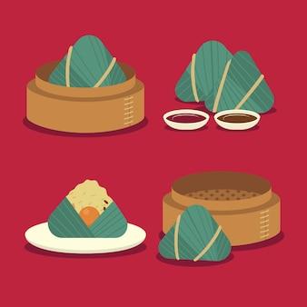 Verzameling van platte ontwerp drakenboot zongzi