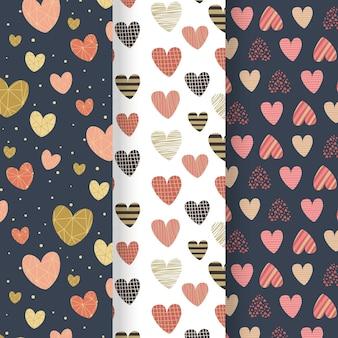 Verzameling van platte ontwerp hartpatronen