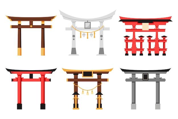 Verzameling van platte ontwerp torii-poort