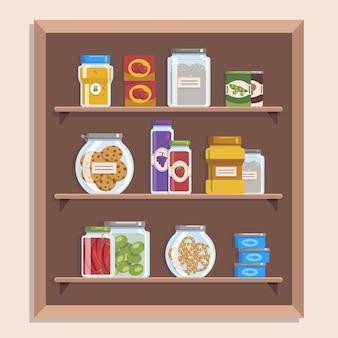 Verzameling van platte pantry met verschillende soorten voedsel