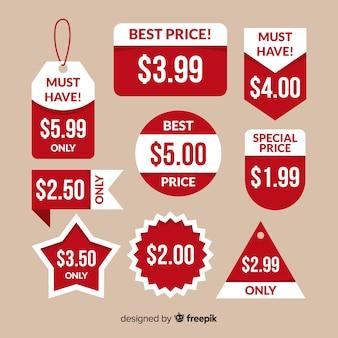 Verzameling van platte prijslabels