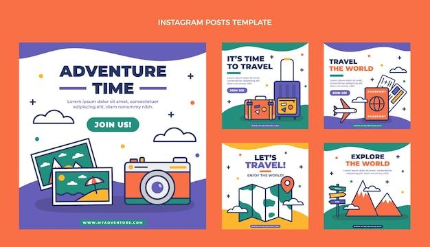 Verzameling van platte reis-instagramberichten