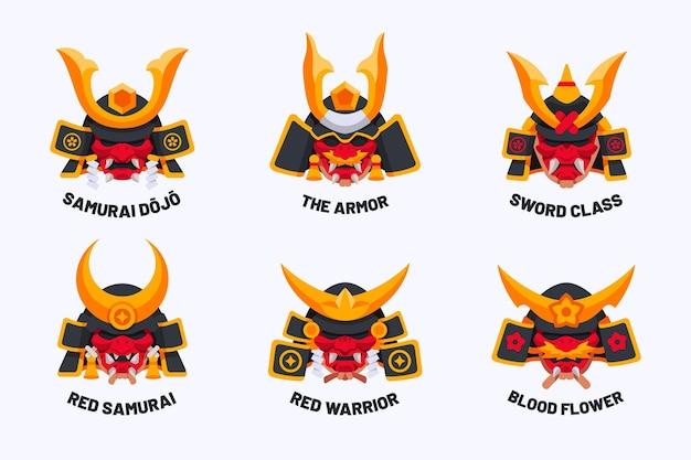Verzameling van platte samurai-logo's