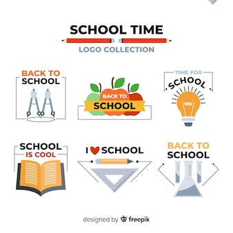 Verzameling van platte schoollogotypes
