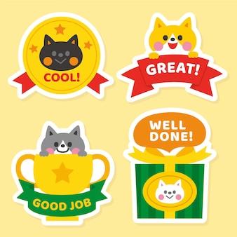 Verzameling van platte stickers voor goede banen