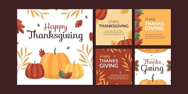 Verzameling van platte thanksgiving-instagramberichten