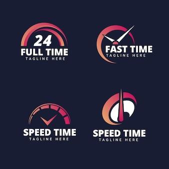 Verzameling van platte tijd logo's