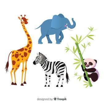 Verzameling van platte tropische dieren