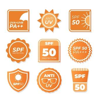 Verzameling van platte ultraviolette badges