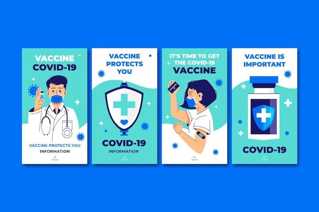 Verzameling van platte vaccin-instagramverhalen