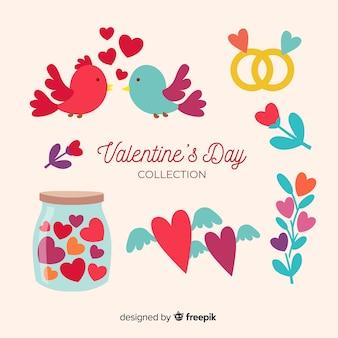 Verzameling van platte valentijnsdag elementen