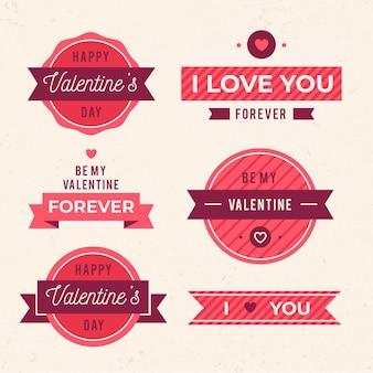 Verzameling van platte valentijnsdag labels