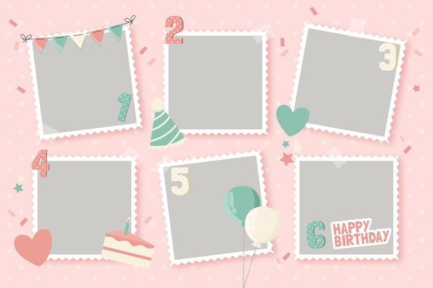 Verzameling van platte verjaardag collage frame