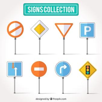 Verzameling van platte verkeersbord