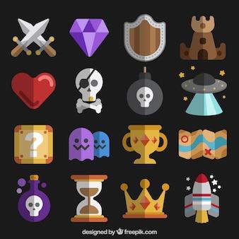 Verzameling van platte videogame elementen