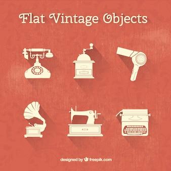 Verzameling van platte vintage objecten