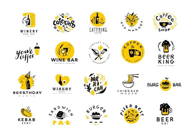 Verzameling van platte voedsel en alcohol logo set geïsoleerd op een witte achtergrond. hand getrokken voedselelementen, schotelpictogrammen.