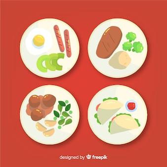 Verzameling van platte voedselgerechten