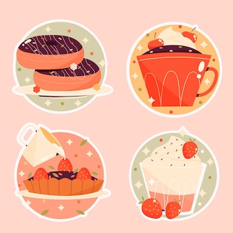 Verzameling van platte voedselstickers