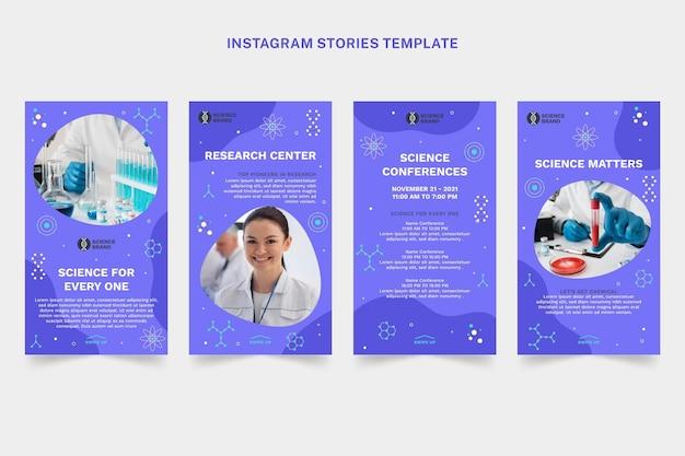 Verzameling van platte wetenschappelijke instagramverhalen