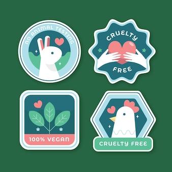 Verzameling van platte wreedheidvrije badges